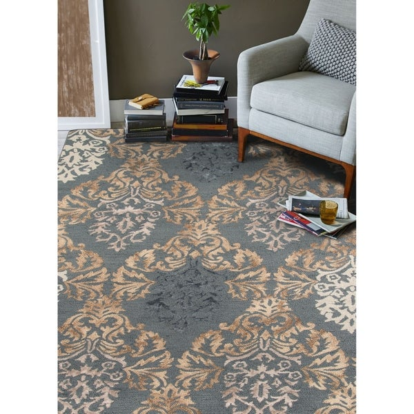 Hand-Tufted Naomi Blue Wool & Silk Rug - 9' x 13'