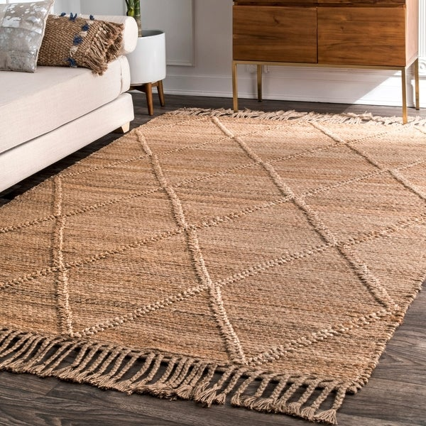 The Curated Nomad Francis Natural Jute Handmade Flatweave Braided Casual Trellis Area Rug
