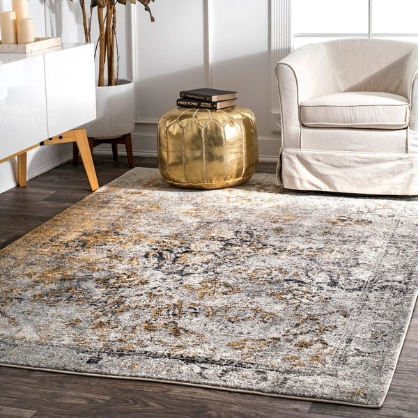 nuLOOM Gold Traditional Intricate and Vibrant Medallion Tribal Area Rug
