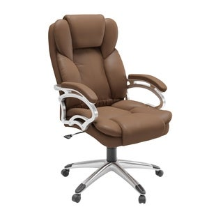 Executive Caramel Brown Leatherette Office Chair