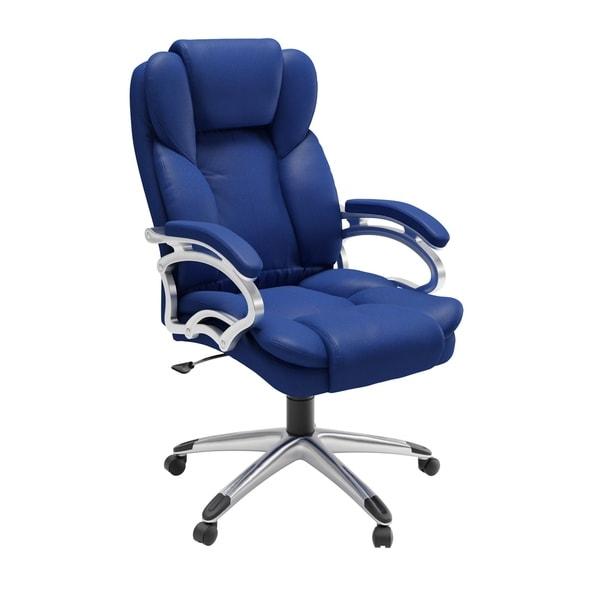 Porch & Den Robbins Cobalt Blue Leatherette Office Chair