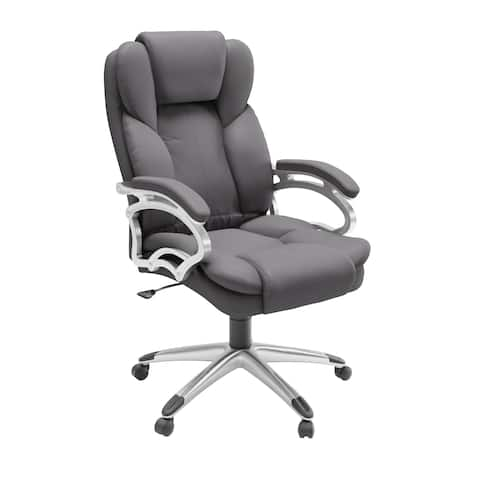 Executive Steel Grey Leatherette Office Chair