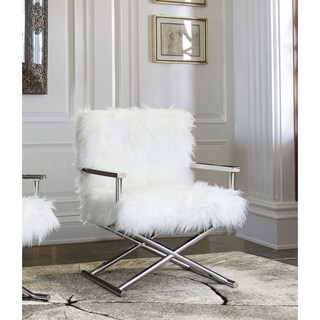 Armen Living Calgary Contemporary Accent Chair in Polished Stainless Steel Finish with White Faux Fur