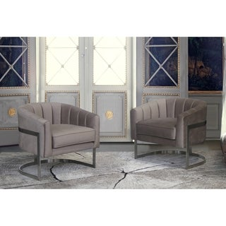 Armen Living Paloma Contemporary Stainless Steel/Fabric Accent Chair
