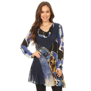 High Secret Women's Blue Patchwork Long Sleeve Tunic Top