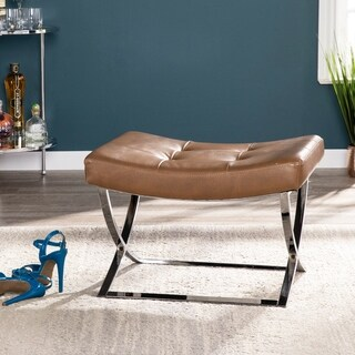 Clay Alder Home Liberty Caramel with Silver Tufted Stool