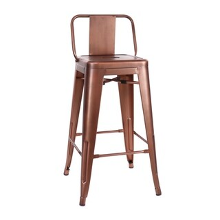 Amalfi Vintage Copper Low Back Steel Counter Stool 26 Inch (Set of 4) - N/A