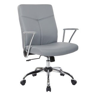 Faux Leather Office Chair with Chrome Base and Built-In Lumbar Support
