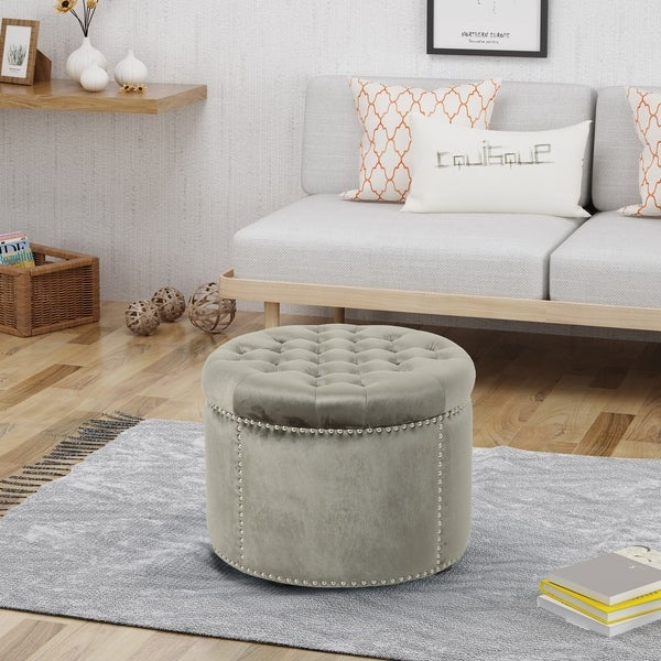 Tiernan Velvet Tufted Ottoman by Christopher Knight Home. Opens flyout.