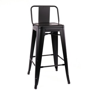 Amalfi Matte Black Low Back Steel Counter Stool 26 Inch (Set of 4) - N/A