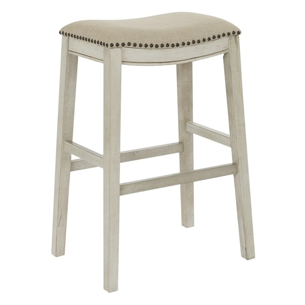 Osp Home Furnishings Metro 28 Inch Bar Height Saddle Stools In Fabric Seat And Antique Base