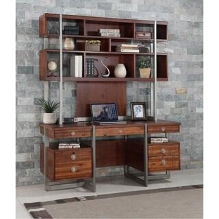"Austere Antiques 66"" Credenza Desk With Hutch"