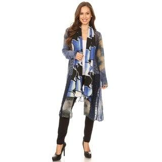 High Secret Women's Blue Patchwork Long Sleeve Open Front Cardigan