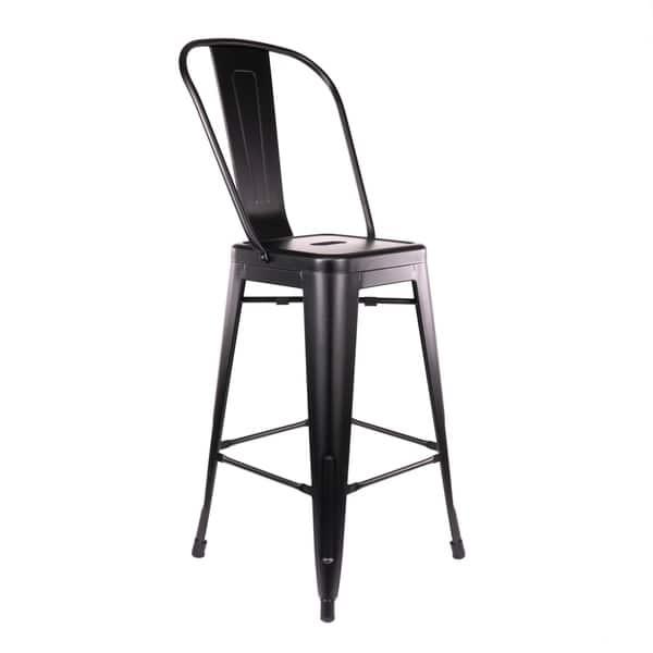 Surprising Shop Amalfi Matte Black High Back Steel Counter Stool 26 Forskolin Free Trial Chair Design Images Forskolin Free Trialorg