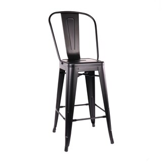 Amalfi Matte Black High Back Steel Counter Stool 26 Inch (Set of 4)
