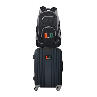 NCAA Miami Hurricanes 2 Piece Set Luggage and Backpack