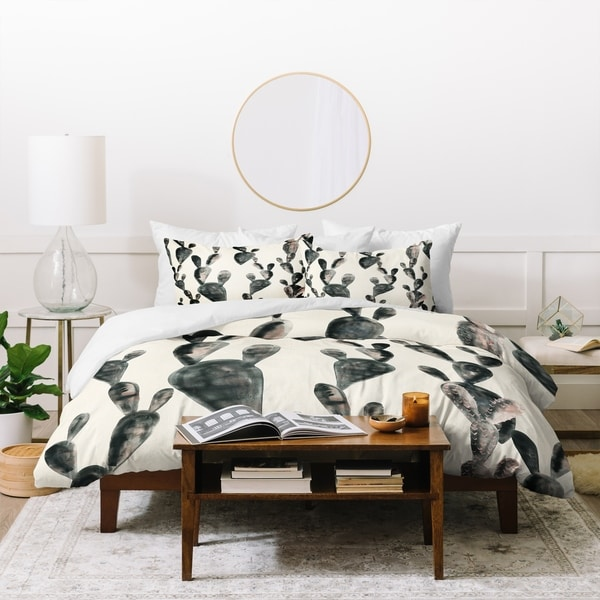 Dash and Ash Midnight Cacti Duvet Cover Set