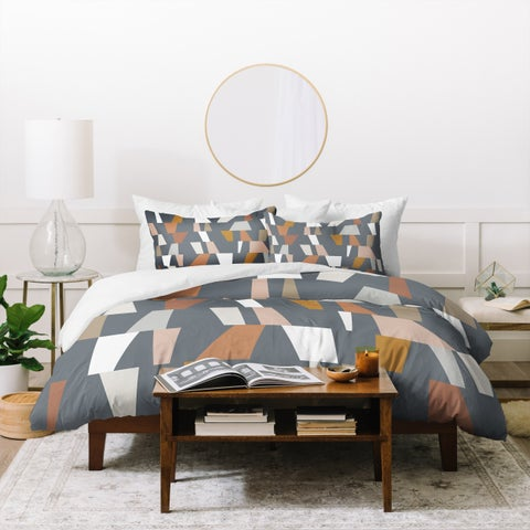 Deny Designs Neutral Geometric Duvet Cover Set (3-Piece Set)