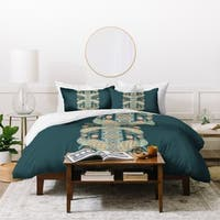 Deny Designs Dark Teal Peacock Duvet Cover Set
