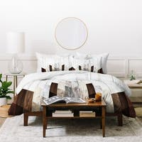 Deny Designs Geometric Wood Duvet Cover Set (3-Piece Set)