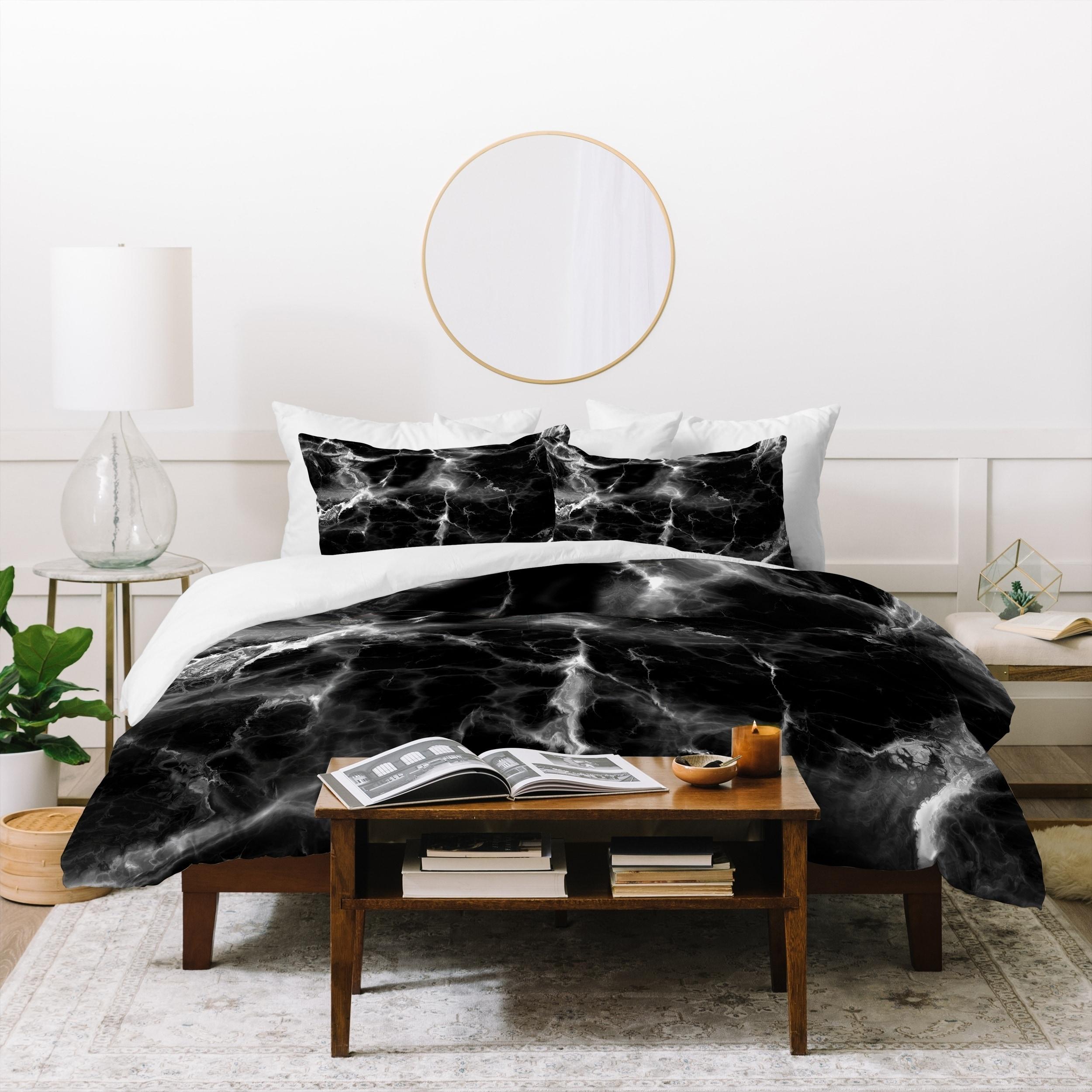Deny Designs Black Marble Duvet Cover Set 3 Piece Set On Sale Overstock 21453938