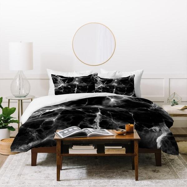 Deny Designs Black Marble Duvet Cover Set (3-Piece Set)