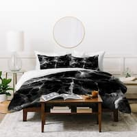 Deny Designs Black Marble Duvet Cover Set (3-Piece Set)