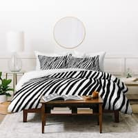 Georgiana Paraschiv Diagonal Stripes Black Duvet Cover Set