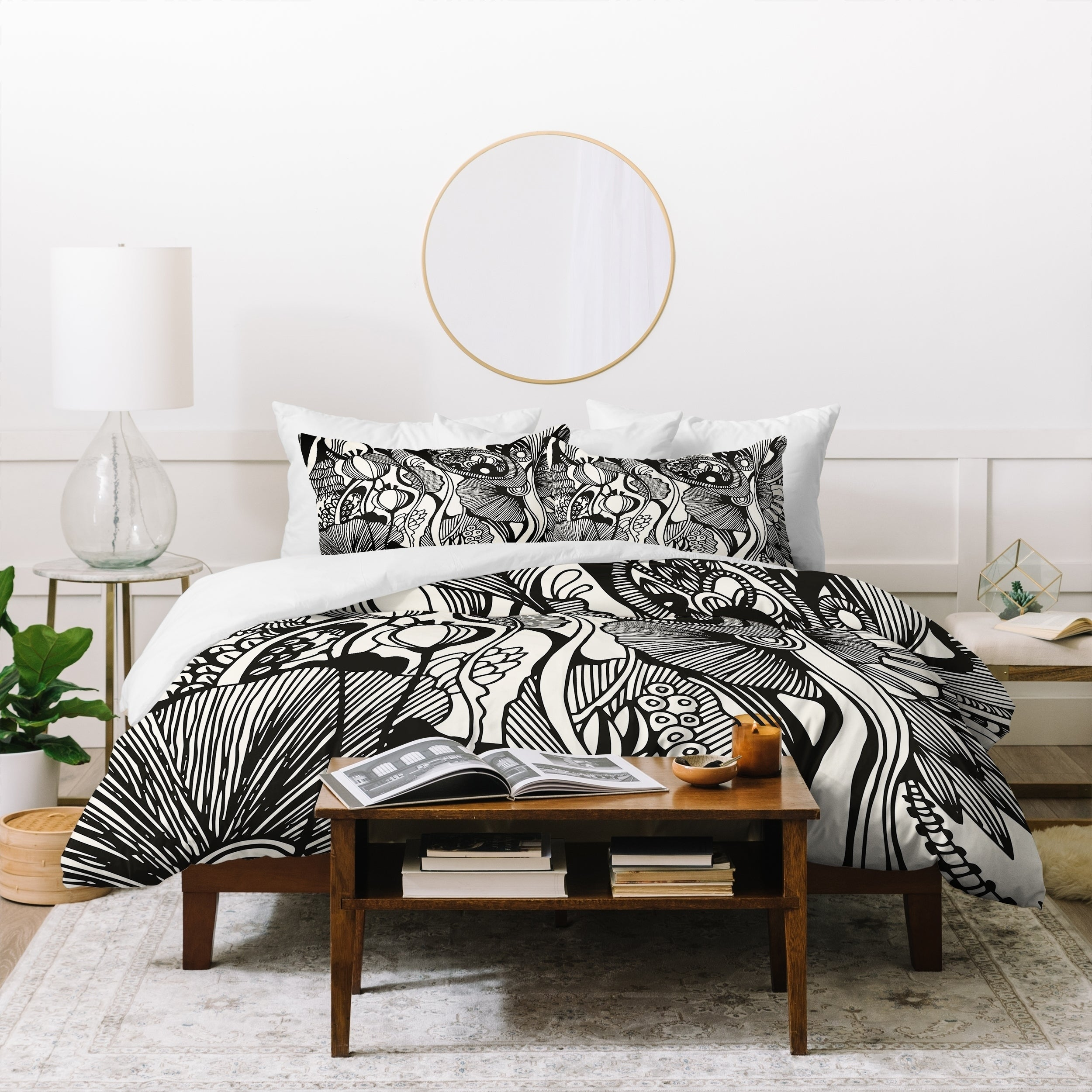 Deny Designs Black And White Botanical Duvet Cover Set 3 Piece Set Overstock 21453981