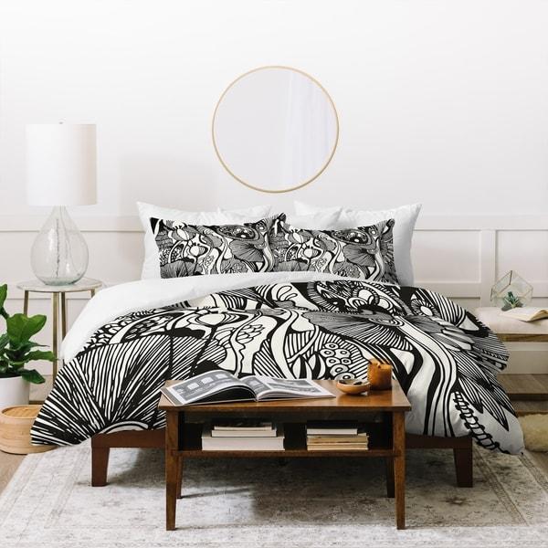 Deny Designs Black and White Botanical Duvet Cover Set (3-Piece Set)