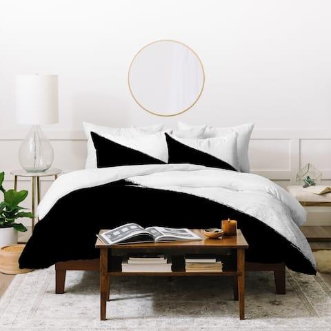 Deny Designs Black and White Split Duvet Cover Set (3-Piece Set)