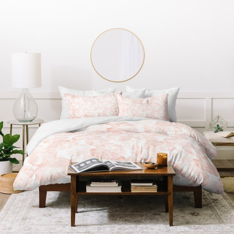 Deny Designs Dusty Pink Tropical Leaf Duvet Cover Set (3-Piece Set)