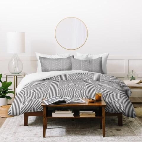 Deny Designs Grey Geometric Stripes Duvet Cover Set (3-Piece Set)