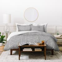 Deny Designs Grey Geometric Stripes Duvet Cover Set (3-Piece Set)