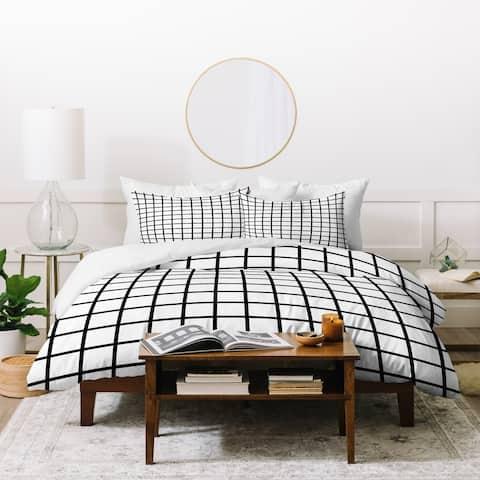 Deny Designs Black and White Grid Duvet Cover Set (3-Piece Set)