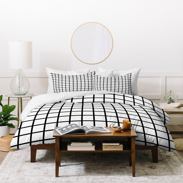 Deny Designs Black and White Grid Duvet Cover Set (3-Piece Set). Opens flyout.