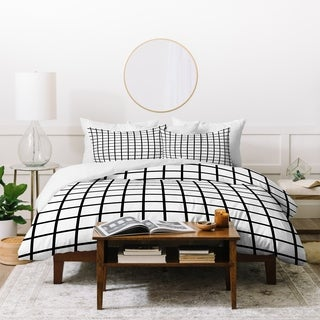 Deny Designs Black and White Grid Duvet Cover Set (3-Piece Set)