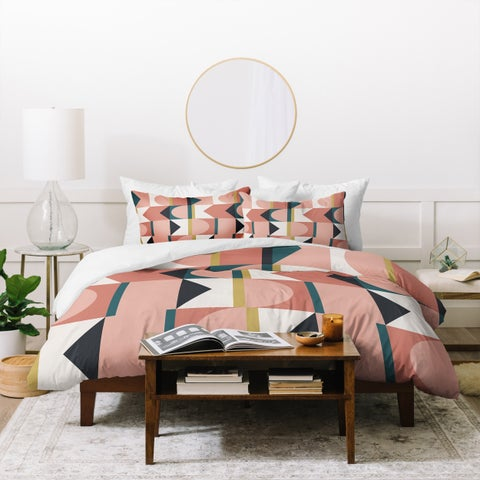 Deny Designs Pink Geometric Shapes Duvet Cover Set (3-Piece Set)