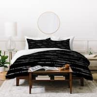 Deny Designs Black and White Line Work Duvet Cover Set (3-Piece Set)