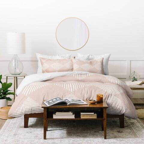 Deny Designs Pink Geometric Lines Duvet Cover Set (3-Piece Set)
