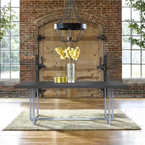 Armen Living Opal Contemporary Dining Table in Brushed Stainless Steel Finish with Grey Top