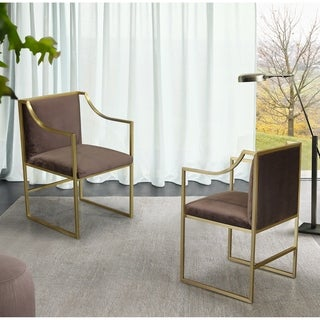 Armen Living Seville Contemporary Dining Chair in Brushed Gold Finish and Brown Fabric