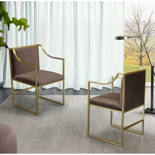Armen Living Seville Contemporary Dining Chair in Brushed Gold Finish and Brown Fabric. Opens flyout.