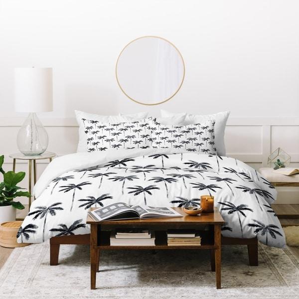Little Arrow Design Co Watercolor Palm Tree In Black Duvet Cover Set
