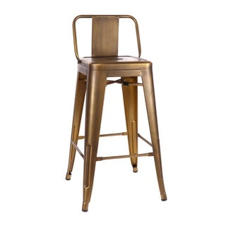 Amalfi Vintage Brass Low Back Steel Counter Stool 26 Inch (Set of 4) - N/A