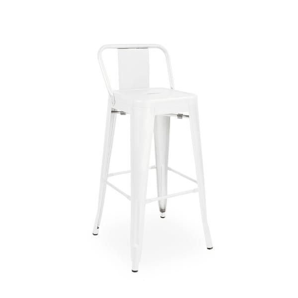 Shop Amalfi Glossy White Low Back Steel Counter Stool 26
