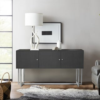 Armen Living Prague Contemporary Buffet in Brushed Stainless Steel Finish and Gray Wood - N/A