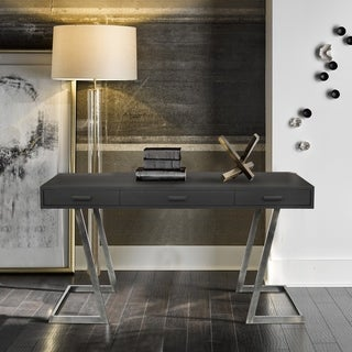 Armen Living Juniper Contemporary Desk with Polished Stainless Steel Finish