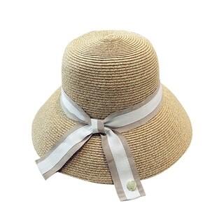 Acappella Women's Natural Straw Big Brim Sun Hat Elegant Beach Bowler