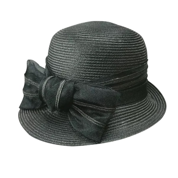 Acappella Women's Natural Straw Hat with Butterfly Knot Elegant Bowler